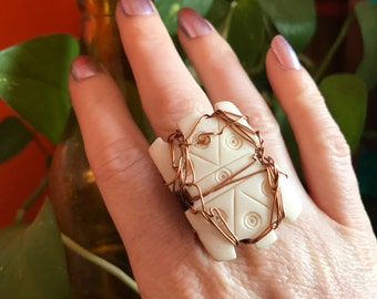 Bone Ring //Boho Jewelry // Bohemian Rings // Festival Accessories // Adjustable Ring // Tribal Gypsy // Vintage // Wire Wrapped