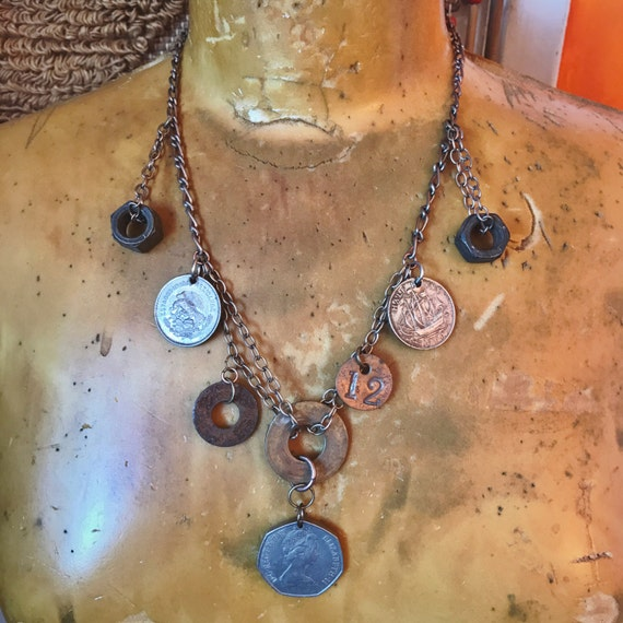 Coin Necklace // Coins // Steampunk Jewelry // Repurposed Jewelry // Sustainable // Handmade // Charm Necklace // Bohemian Boho Chic