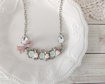 Shabby Romantic Chic Blush Pink and Rhinestone Statement Necklace