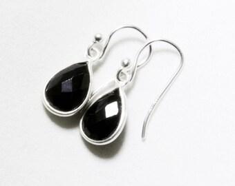 Black Spinel Earrings Genuine Spinel Small Dangle Earrings Black Teardrop Earring August Birthstone Sterling Silver Bezel BZ-E-102-BSpinel/s