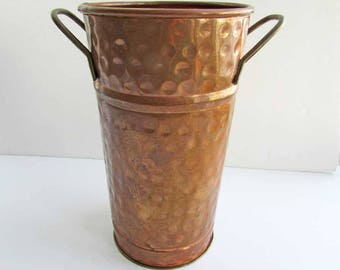 Vintage 1980's  Hammered Copper Centerpiece Flower Bucket or Vase, Old Surface Finish, Vintage  Copper, Tall Flower Vase
