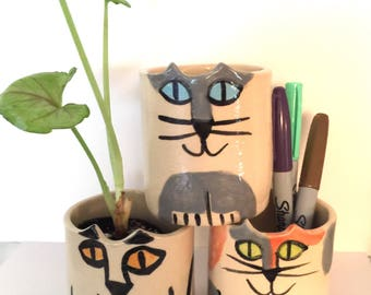 Cat planter or vase: kitty pot animal lover Gift whimsical  feline hand made pet loss memorial stoneware happy kitty pot