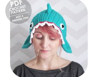 crochet pattern - crochet headband pattern - shark headband - novelty hat headband - shark week - shark lover - costume party halloween