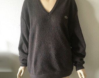 IZOD // Vintage 80s Lacoste V Neck Sweater Unisex Large Boyfriend Sweater Speckled Colorful Brown Pullover Jumper 1980s Preppy Grunge