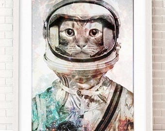 Outerspace Nursery, Outer Space Nursery, Space Artwork, Anthropomorphic Cat, Astronaut Print, Curious Art, Print, Decor, Weird, Awesome, Odd