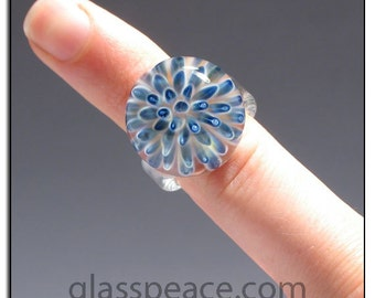 Glass Ring size 6 blue sea anemone Glass Peace lampwork jewelry (5940)