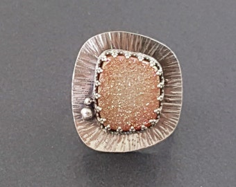 Candy Druzy Ring, Size 8, pink druzy ring, sterling silver, druzy ring, pink and silver, drusy ring, drusy, peach druzy
