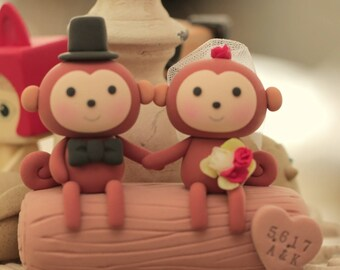 monkey wedding cake topper-----k775