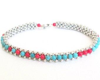 genuine turquoise bracelet coral beaded bracelet sterling silver bracelet gemstone bracelet beaded jewelry boho braclelet southwestern