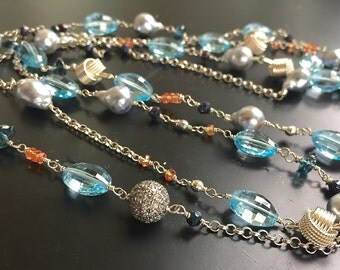 Luxury Gemstone Layering Necklace-Akoya Pearl, Blue Topaz, Sapphire, Pave White Sapphire Sterling Silver-Long Necklace