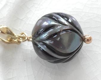 Carved Tahitian Pearl Pendant Solid 14k Gold Galatea Pearl