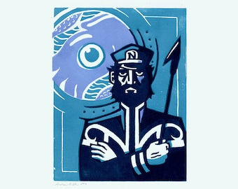Captain Nemo - 20,000 Leagues Under the Sea Lino Print