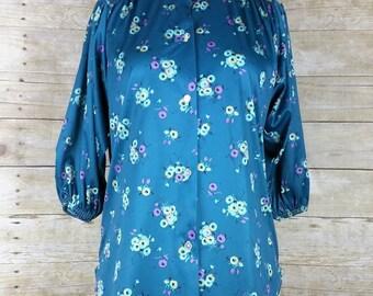 Vintage Turquoise Floral Blouse M