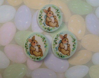 Stuffed Bunny Button set of 3