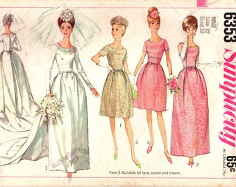 1960s Simplicity 6353 Vintage Sewing Pattern Misses Bridal Gown, Wedding Dress, Bridesmaid Dress, Evening Dress Size Bust 32, Bust 36