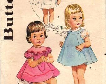 1960s Butterick 9957 Vintage Sewing Pattern Toddler Dress, Jumper or Sundress, Panties, Size 1