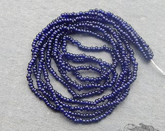 Size 20/0 Antique Micro Seed Beads - Transparent Dark Indigo or Midnight Blue Hank, Tiny and Collectible Size 20 Vintage Glass Microbeads