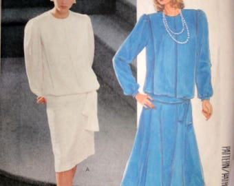Vintage 80's McCall's 3332 Sewing Pattern, Misses' Top And Skirts, Size 20, 42 Bust, Uncut FF, Plus Size 1980's Fashion