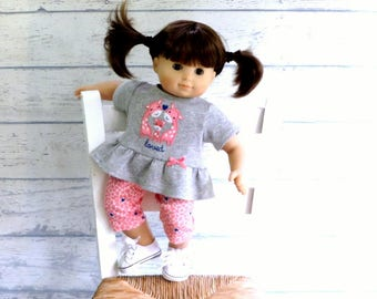15 inch Doll Outfit, Giraffe Family Ruffle Top and Matching Leggings