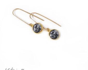 Gold Moon Earrings on Long Hooks, Small, Earth's Moon, Full Moon, Space, Dangle, Drop, Astronomy, Long Earrings, 14k Gold Filled