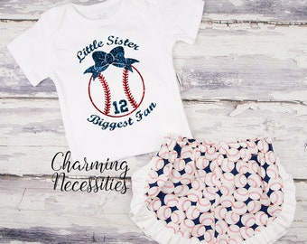 NEW Baseball Sister Top and Ruffle Shorts Set, Personalized, Toddler Girl Clothes, Baby Girl Outfits, Little Sister Biggest Fan Navy Red