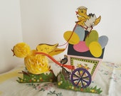 Vintage Easter Paper Centerpiece by Amscan Denmark, Honeycomb Chicks and Egg Wagon