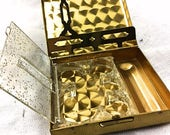 Vintage Coin Compact Box 1950s Purse Accessory Petty Cash Holder 50s Money Organizer Lipstick Holder Gold Tone with Clock Watch Motif