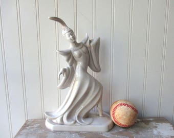 Vintage Roselane pottery Balinese Polynesian dancer statue figurine 402 pale grey gray Asian Mid century decor California pottery