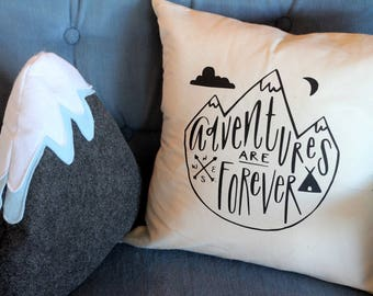 ADVENTURE Hand drawn Nature Themed Nursery Pillow 16 x16  Handwritten PNW Boys Room