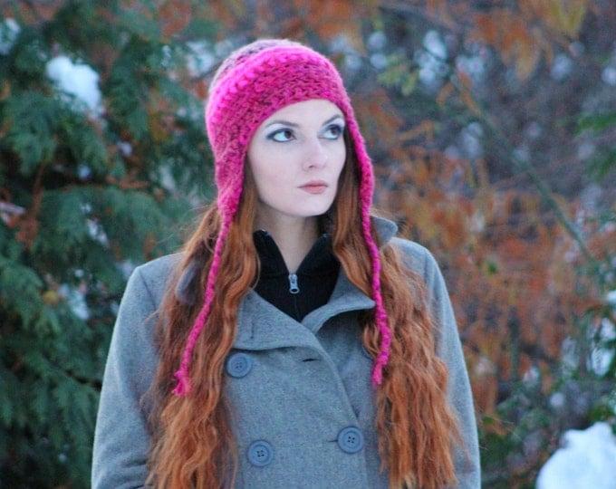 Hot  Pink Warm Soft EarFlap Hat Handmade Crochet Gift for Her