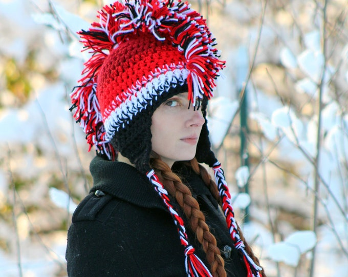 Red White and Black Ombre Fade Mohawk Hat Handmade Ear Flap Style Warm Winter  Accessory Gift Idea for Men , Women, Teens or Children