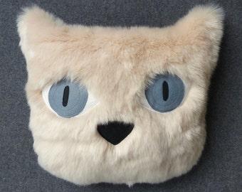 Cat cushion. Faux fur pillow. Cat face pillow.