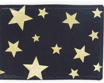 Oyster card holder, bus pass holder, travel card holder, wallet. Gold foil stars. Card wallet, Oyster card wallet, card holder.