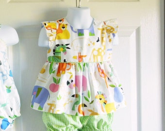 "Girls ""Piper"" Flutter Sleeve Top Bloomer Shorts Set - 6 mos to size 6 - Zoo Bisou Collection"