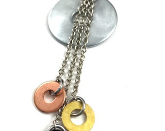Statement Pendant Necklace Mixed Metal Hardware Jewelry Industrial Copper, Brass, and Black Washers Eco Friendly