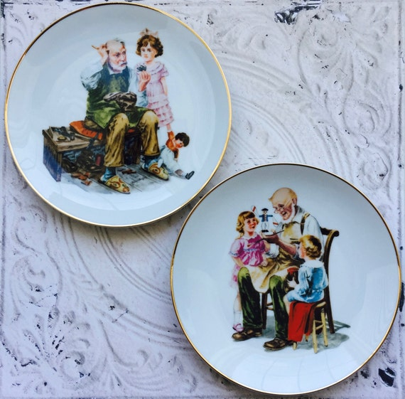 Norman Rockwell Plates The Cobbler and The Toy Maker 1980's Collectibles Decorative Plates