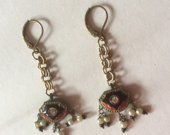 India enamel and pearly earrings, with gold tone chain, made from vintage jewelry