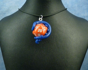 Blue and Red Sanity Check Necklace - Tentacle Wrapped D20 Pendant