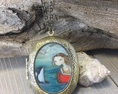 Locket - Sarah and the Orca vintage locket whale necklace ocean jewelry