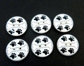 "6 Dog Bone Buttons. Handmade Buttons.   3/4"" or 20 mm. Dog Bone and Paw Print  Buttons for Sewing."