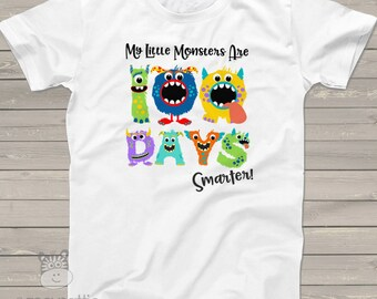 Teacher shirt - 100 Days Smarter monsters fun hundred day shirt for teachers MSCL-015