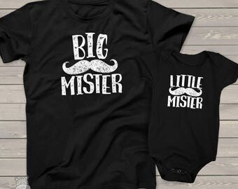 Popular mustache big mister li'l mister matching dad kiddo t-shirt or bodysuit custom DARK gift set - fun gift for Father's Day  MDF!-044-v