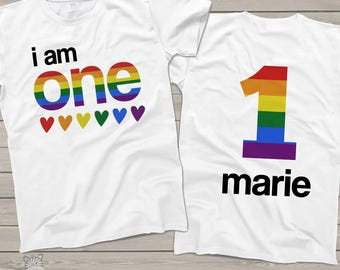 Birthday shirt rainbow any age front and back personalized Tshirt BRT