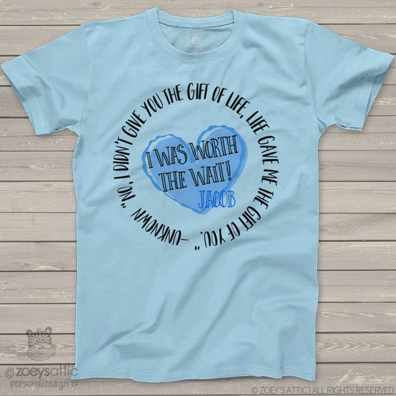Childrens personalized shirt-I Was So Worth the Wait heart adoption quote t-shirt- adorable way to announce MADT1-003-2