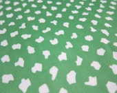 Vintage Polyester Fabric, 4 Yards of Green Fabric with White Abstract Dots, Stretch Fabric for Apparel, Vintage 1970s Dress or Decor Fabric