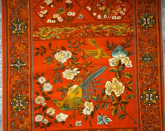 """Asian Bird Fabric Scrap, 26"""" x 23 1/2"""" Piece of Orange, Blue, Gold, Olive and Cream Cotton Fabric with Asian Style Birds, Flowers, Dragons"""