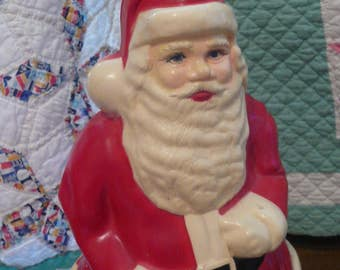 Vintage Plastic Santa Claus Christma Decor Collectible  Tall Santa Free Standing SALE