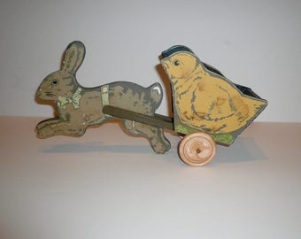 Sale Vintage Easter Bunny Baby Chick Decoupage Wooden Cart Easter Decor Midwest of Cannon Falls