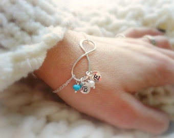 Personalized Infinity Bracelet with initials & Birthstones, Mothers bracelet, Mother daughter, Initial bracelet, grandmother gift, nana