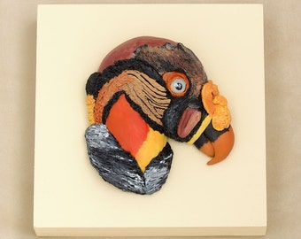 King Vulture Bird Sculpture Bas Relief Polymer Clay Bird Art, Unique Bird Lover Gift, Vulture Art